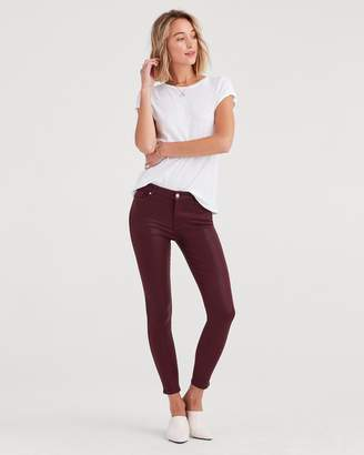 7 For All Mankind Ankle Skinny in Coated Bordeaux