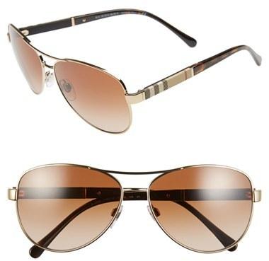 Women's Burberry 59Mm Aviator Sunglasses - Matte Gold