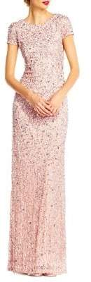 Adrianna Papell Sequined Scoop Back Gown