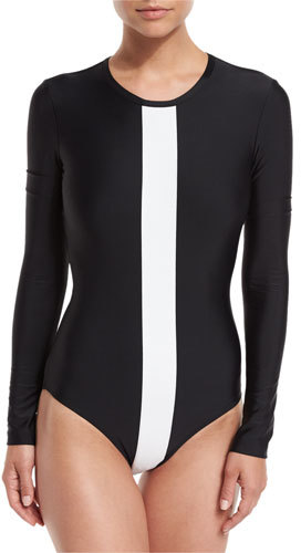 Cover UPF 50 Long Sleeve White Stripe One Piece