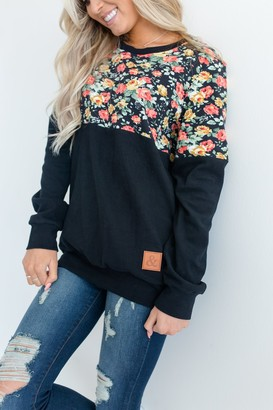 Ampersand Avenue Floral Accent Pullover - Black
