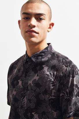 Barney Cools Black Floral Rayon Short Sleeve Button-Down Shirt