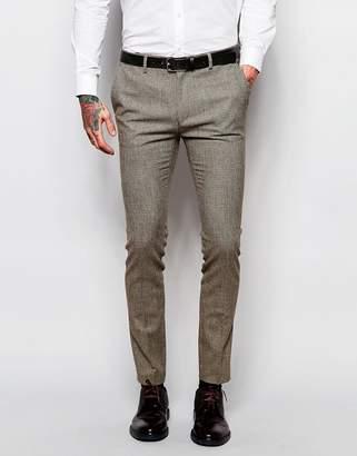 Asos DESIGN Wedding Super Skinny Suit Pants In Brown Dogstooth