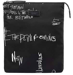 HUGO BOSS Graffiti-print envelope bag in nylon gabardine