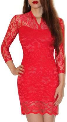 SODACODA Women's Lace Short Dress - 3/4 Sleeve Slim-Fit - V-neck - (, L)