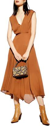 Topshop Pleated Pinafore Midi Dress