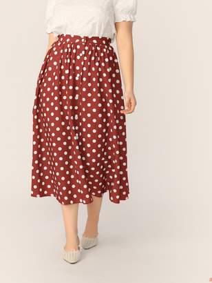 Shein Plus Button Front Polka-dot Print Flare Skirt