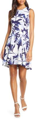 Vince Camuto Floral High/Low Fit & Flare Dress