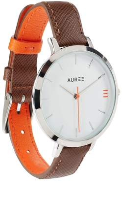 Auree Jewellery - Montmartre Sterling Silver Watch with Chestnut Brown and Orange Strap