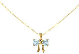 """14K Yellow Gold Gemstone Bow Pendant with 18"""" Chain"""