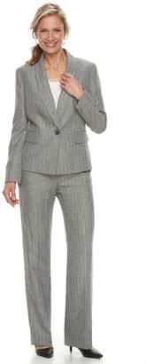 Le Suit Women's Gray Stripe Jacket & Pant Suit