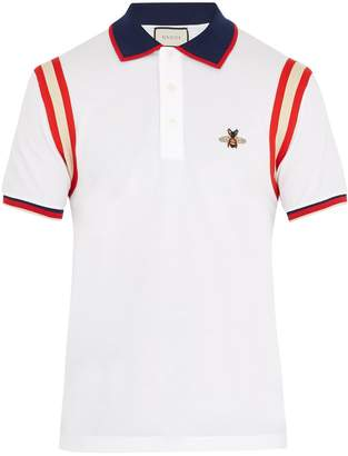 Gucci Bee-embroidered stretch-cotton piqué polo shirt