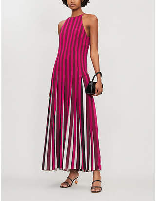 MICHAEL Michael Kors Pleated multi-stripe crepe maxi dress