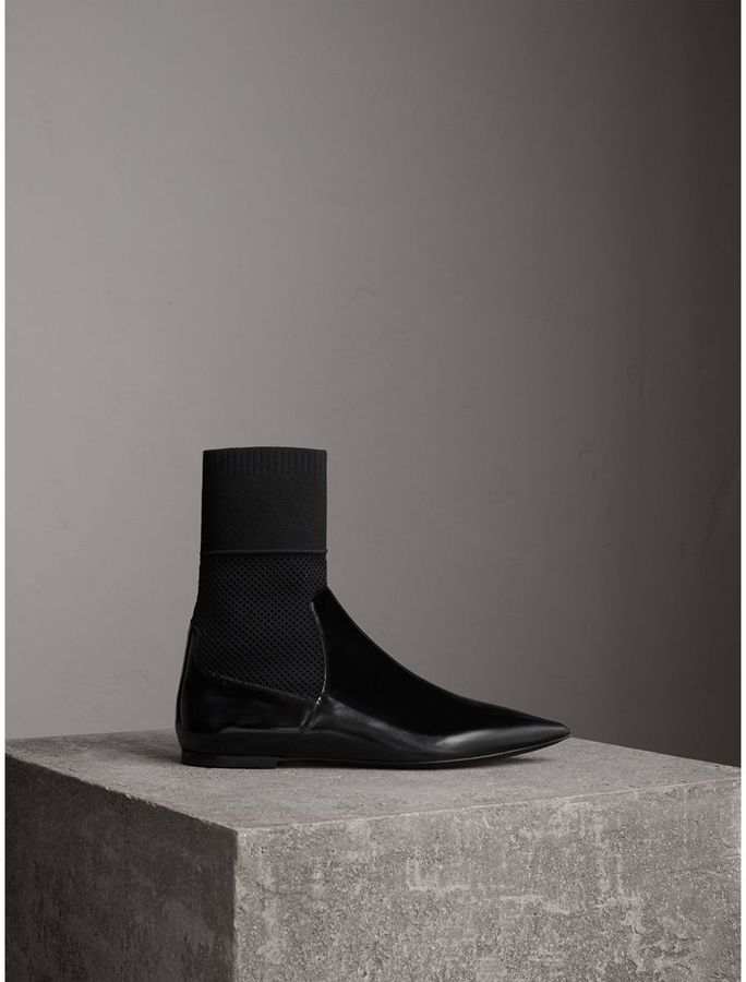 Burberry Patent Leather and Knitted Mesh Ankle Boots