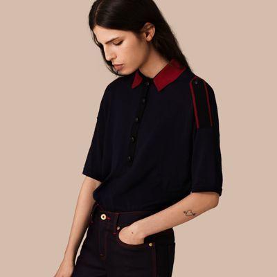 Burberry Burberry Epaulette Detail Wool Polo Shirt