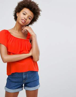 Pull&Bear Top With Asymetric Ruffle