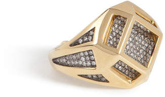 Noor Fares 18kt Gold Cube Cage Ring with Diamonds
