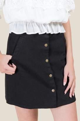 francesca's Hudson Snap Front Mini Skirt - Black