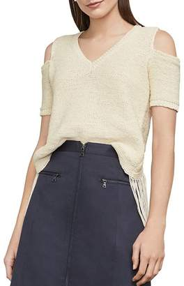 BCBGMAXAZRIA Joanne Fringed Cold-Shoulder Cropped Top