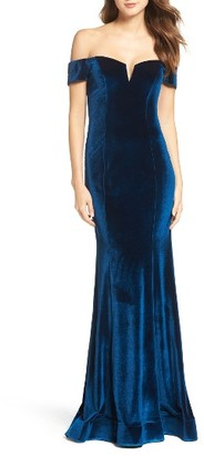 Women's La Femme Velvet Off The Shoulder Gown $368 thestylecure.com