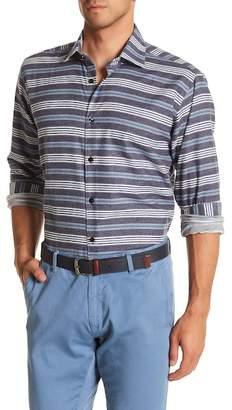 Jared Lang Stripe Patterned Woven Trim Fit Shirt