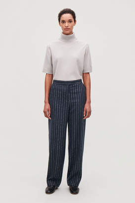 Cos PINSTRIPED WIDE WOOL TROUSERS