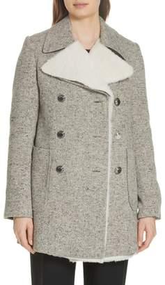Tory Burch Kinsley Faux Shearling Tweed Coat