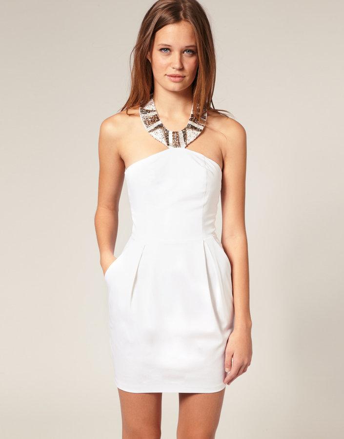 ASOS Tulip Dress With Embellished Neck