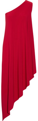 Norma Kamali - One-shoulder Stretch-jersey Tunic - Red $175 thestylecure.com