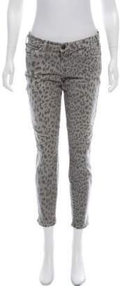 Current/Elliott Leopard Print Low-Rise Jeans