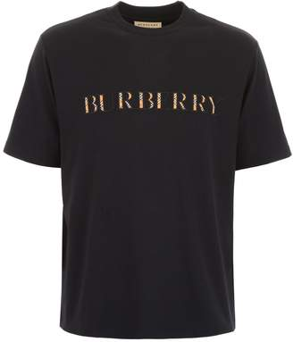 Burberry T-shirt With Tartan Logo Embroidery