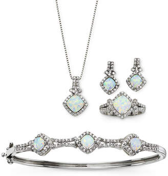 JCPenney FINE JEWELRY Lab-Created Opal & Cubic Zirconia 4-pc. Set
