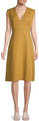 Theory Linen Deep-V Midi Dress