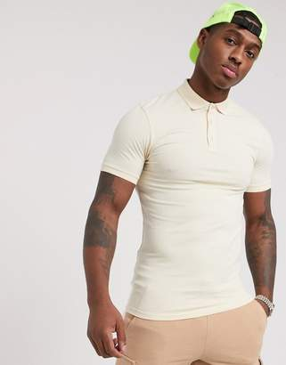 BEIGE Asos Design ASOS DESIGN muscle fit with stretch jersey polo in