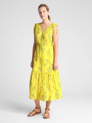 Gap Sleeveless Floral V-Neck Tiered Midi Dress