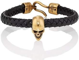 Alexander McQueen Men's Braided Leather Skull Bracelet - Black