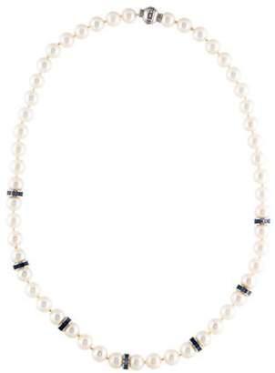 Mikimoto 18K Sapphire & Pearl Bead Strand blue 18K Sapphire & Pearl Bead Strand