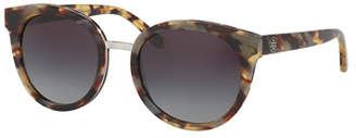 Tory Burch Gradient Round Sunglasses, White Tortoise