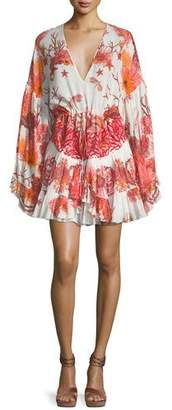 Roberto Cavalli V-Neck Tiered Cotton-Poplin Printed Dress