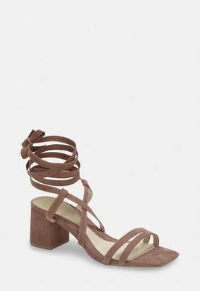 Missguided Taupe Two Strap Lace Up Mid Heel Sandals