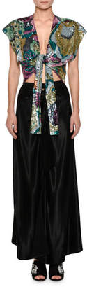 ATTICO Embroidered Sequins Tie-Waist Evening Gown with Crepe Silk Skirt
