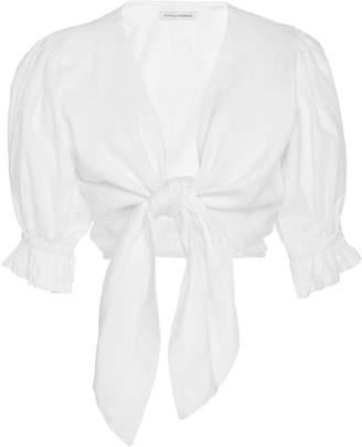 Faithfull Jamais 1/4 Sleeve Linen Wrap Top