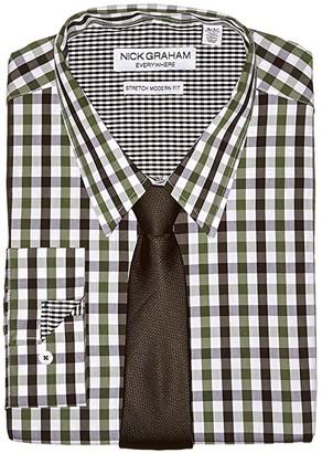 Nick Graham Gingham Contrast CVC Stretch Dress Shirt Tie Set