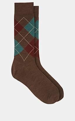 Barneys New York Men's Argyle Wool-Blend Mid-Calf Socks - Brown