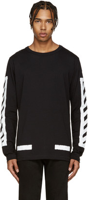 Off-White Black Brushed Diagonals T-Shirt $245 thestylecure.com