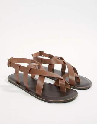 Asos DESIGN Sandals In Tan Leather