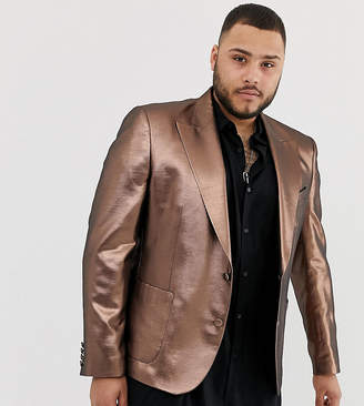 Asos Design DESIGN Plus skinny 70s metallic copper blazer