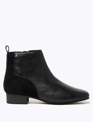 Marks and Spencer Leather & Suede Square Toe Ankle Boots