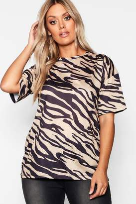 boohoo Plus Zebra Print T-Shirt