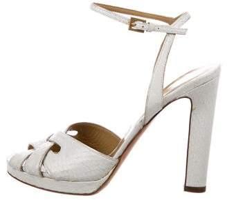 Valentino Snakeskin Ankle Strap Sandals